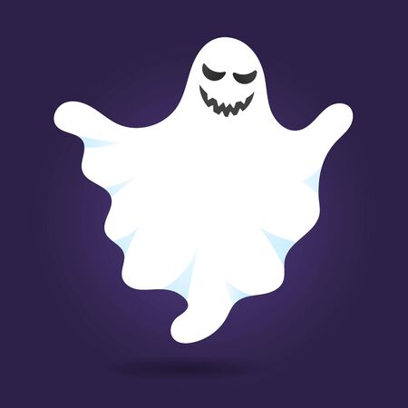 Cute ghost character flat style design vector illustration isolated on dark background. Halloween boo spooky symbol flying above the ground.