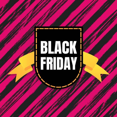 Black friday sale inspiration poster, banner or flyer vector illustration isolated on brush stroke background. Big holiday mega sale with ribbon, label tag and text. Ilustração