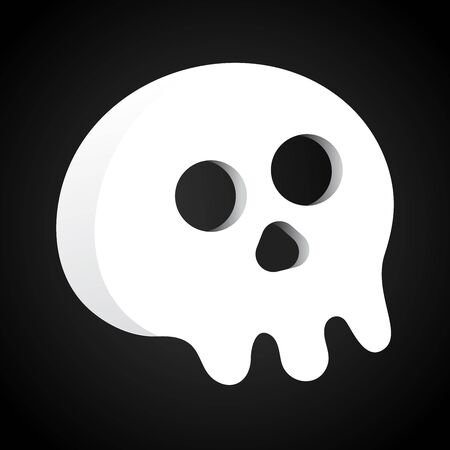 Simple flat style design scull icon sign vector illustration isolated on black background. Human part head, Jolly Roger pirat flag symbol or halloween element of scary decoration.