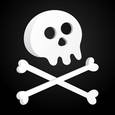 Simple flat style design scull with crossed bones icon sign vector illustration isolated on black background. Human part head, Jolly Roger pirat flag symbol or halloween element of scary decoration Stock Vector - 128794256