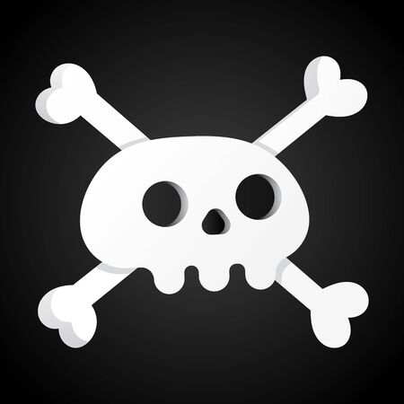 Simple flat style design scull with crossed bones icon sign vector illustration isolated on black background. Human part head, Jolly Roger pirat flag symbol or halloween element of scary decoration Stock Vector - 128736671