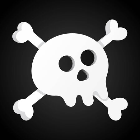 Simple flat style design scull with crossed bones icon sign vector illustration isolated on black background. Human part head, Jolly Roger pirat flag symbol or halloween element of scary decoration Stock Vector - 128736681