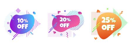 3 Modern liquid abstract special offer price sign 10%, 20%, 25% off DISCOUNT icon set. Illustration