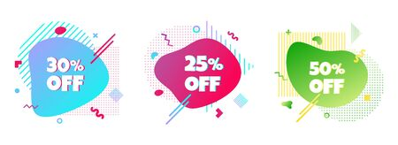 3 Modern liquid abstract special offer price sign 25%, 30%, 50% off DISCOUNT icon set. Illustration