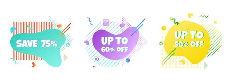3 Modern liquid abstract special offer price sign 75%, 80%, 60% off DISCOUNT icon set.