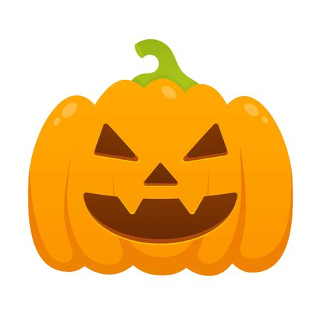 Orange halloween pumpkin with scary face expression grimace flat style design vector illustration isolated on white background. Stock Vector - 128302152