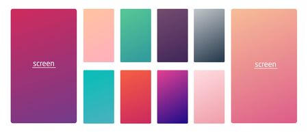 Vibrant and smooth gradient soft colors for devices, pc s and modern smartphone screen backgrounds set vector ux and ui design illustration Illustration