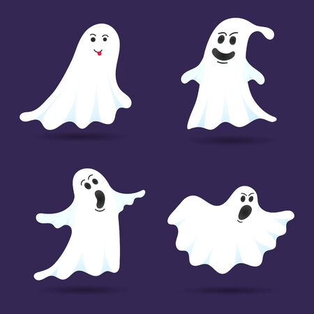 4 cute ghost characters flat style design vector illustration set isolated on dark background. Halloween boo spooky symbol flying above the ground. Stock Vector - 128576312