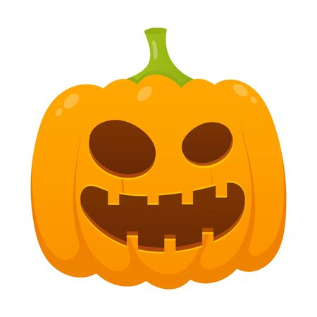 Orange halloween pumpkin with scary face expression grimace flat style design vector illustration isolated on white background.