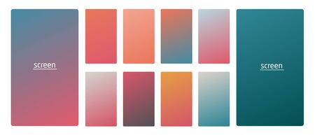 Vibrant and smooth gradient soft colors for devices, pc s and modern smartphone screen backgrounds set vector ux and ui design illustration