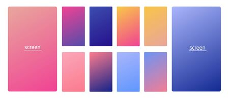 Vibrant and smooth gradient soft colors for devices, pc s and modern smartphone screen backgrounds set vector ux and ui design illustration Stock Vector - 128576322