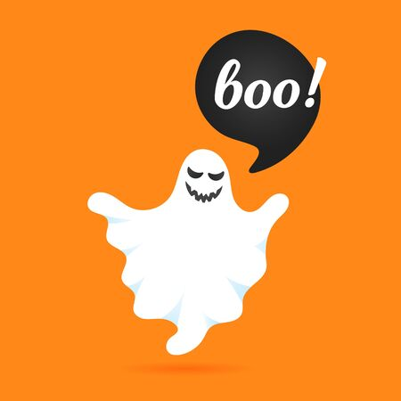Flying halloween funny spooky ghost character say BOO with text space in the speech bubble vector illustration isolated on orange background Stock Vector - 128576331