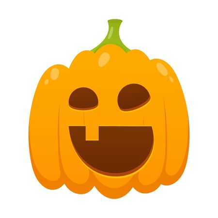 Orange halloween pumpkin with scary face expression grimace flat style design vector illustration isolated on white background. Stock Vector - 128576335