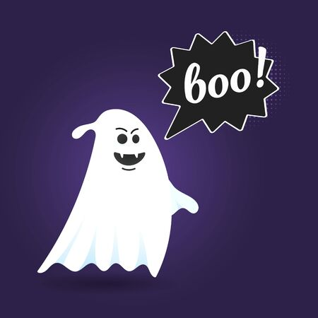 Flying halloween funny spooky ghost character say BOO with text space in the speech bubble vector illustration isolated on dark background Stock Vector - 128736686