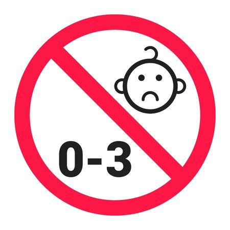 Not suitable for children under 3 years choking hazard forbidden sign sticker isolated on white background vector illustration. Illustration