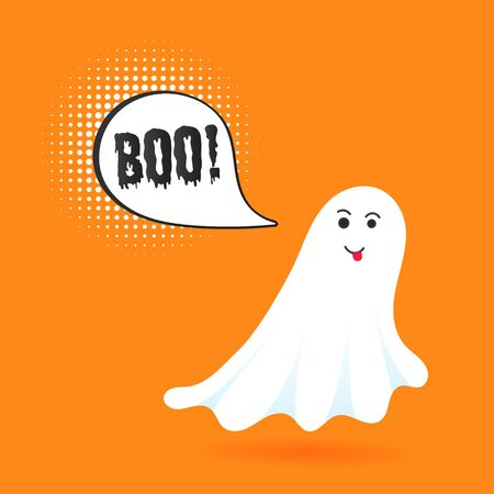 Flying halloween funny spooky ghost character say BOO with text space in the speech bubble vector illustration isolated on orange background Illustration