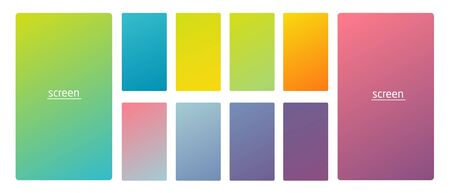 Vibrant and smooth gradient soft colors for devices, pc s and modern smartphone screen backgrounds set vector ux and ui design illustration Stock Vector - 128736691