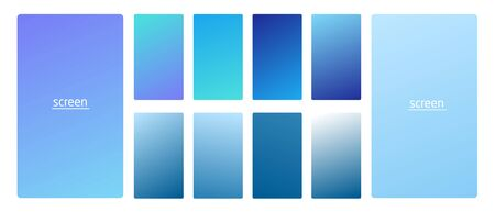 Vibrant and smooth gradient soft light blue sky clouds colors for devices, pc and modern smartphone screen backgrounds set vector ux and ui design illustration