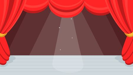 Open red curtains theater or ballet dance scene with price, curtains and scenery flat style design vector illustration. Иллюстрация