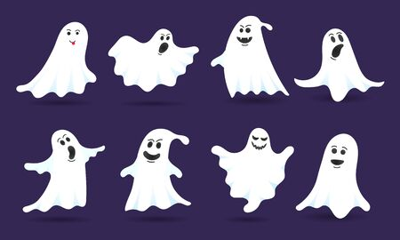 8 cute ghost characters flat style design vector illustration set isolated on dark background. Halloween boo spooky symbol flying above the ground.