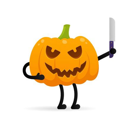Orange halloween pumpkin with scary face expression grimace and knife in the hands standing up flat style design vector illustration isolated on white background. Illustration