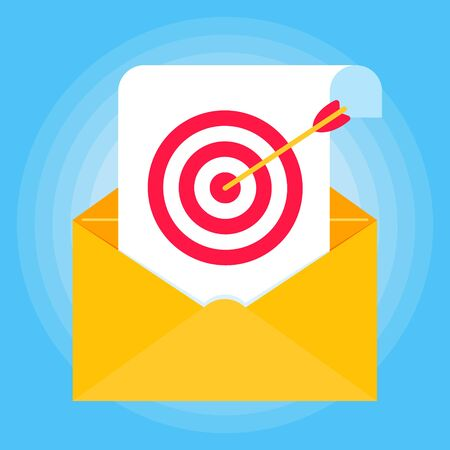 Open envelope with document paper sheet page, target icon sign vector illustration. Symbol of email targeting verification flat design concept isolated on blue background.