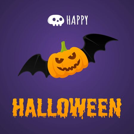 Happy Halloween text postcard banner with flying scary face on pumpkin, bats and text happy halloween isolated on dark background flat style design.