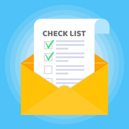 Open envelope with document paper sheet page check mark tick text icon sign vector checklist. Symbol of email confirmation, delivery, verification flat design concept isolated on blue background.