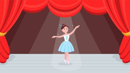 Open red curtains theater or ballet dance scene with price, curtains, scenery and young beautiful ballerina dressed in tutu and pointe shoes standing at the pose flat style design vector illustration.