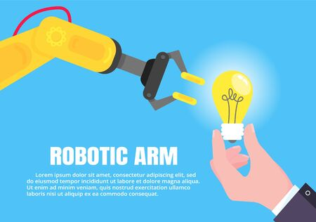 Robotic arm and hand with lightbulp flat style design vector illustration icon signs signs isolated on light blue background. Robot arms or hands. Industrial robot manipulator. Modern smart industry 4.0.