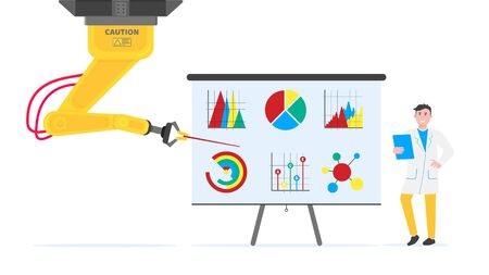 Robotic arm and man flat style design vector illustration icons signs isolated on white background. Robot arm or hand do report on flip chart infographics. Modern smart industry 4.0 technology.