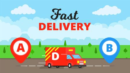 Fast delivery truck service on the road. Pins and stripes vector illustration isolated on blue background. Symbol of delivery company. Иллюстрация