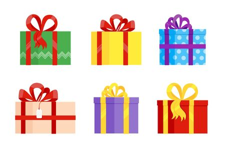 Set of various gift boxes with big ribbon and bow on it flat style design vector illustration isolated on white background. Wrapped present for holidays for you.