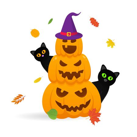 Pile of orange halloween pumpkins set with scary faces expression grimace. Autumn leaves with witch hat and black cats behind flat style design vector illustration isolated on white background.