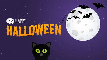 Happy Halloween text postcard banner with witch cat, bats and text happy halloween isolated on dark background flat style design.