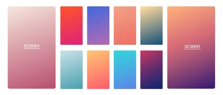 Vibrant and smooth gradient soft colors for devices, pc s and modern smartphone screen backgrounds set vector ux and ui design illustration Stock Illustratie