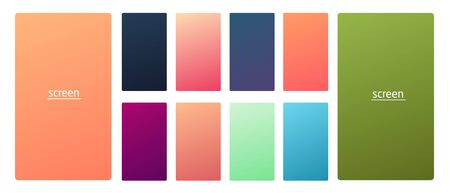 Vibrant and smooth gradient soft colors for devices, pc and modern smartphone screen backgrounds set vector ux and ui design illustration