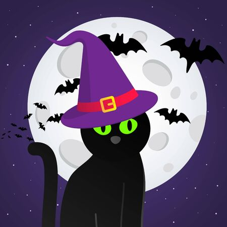 Happy Halloween text postcard banner with witch cat, hat, bats, big moon happy halloween card isolated on dark sky background flat style design. 일러스트
