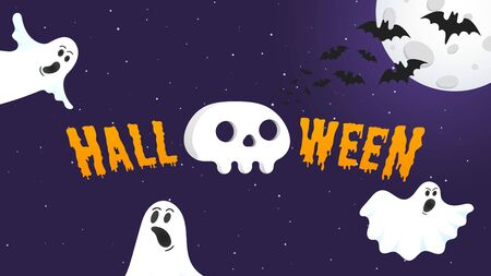 Happy Halloween text postcard banner with ghosts scary face, human scull, moon, bats and text happy halloween isolated on dark background flat style design. Иллюстрация