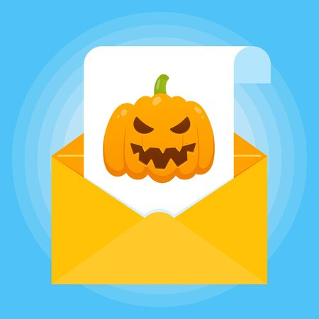 Paper sheet with halloween pumpkin with scary face on it and envelope icon sign flat style design isolated on light blue background vector illustration Фото со стока - 129327121