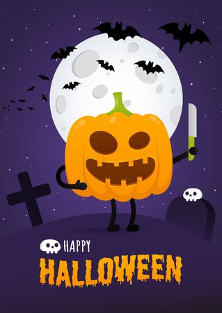 Happy halloween poster with pumpkin scary face expression grimace and knife standing up, moon, bats flat style design vector illustration isolated on dark sky background. Text happy halloween behind. Çizim