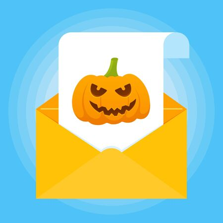 Paper sheet with halloween pumpkin with scary face on it and envelope icon sign flat style design isolated on light blue background vector illustration Stock Illustratie