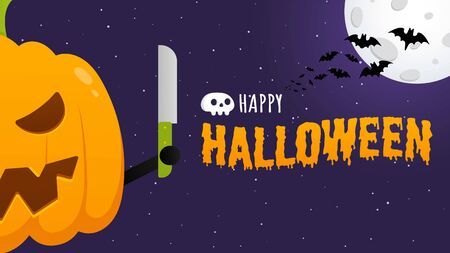 Happy halloween poster with pumpkin scary face expression grimace and knife in the hands standing up flat style design vector illustration isolated on dark background. Text happy halloween with scull. Çizim