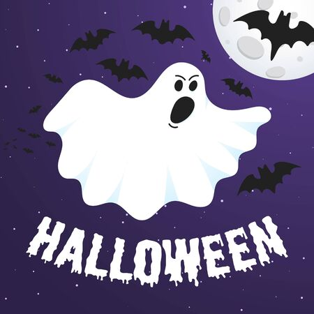 Happy Halloween text postcard banner with ghost scary face, night sky, moon, flying bats and text happy halloween isolated on dark background flat style design. Stockfoto - 129495080