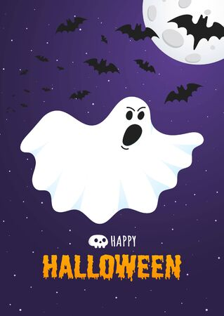 Happy Halloween text postcard banner with ghost scary face, night sky, moon, flying bats and text happy halloween isolated on dark background flat style design.