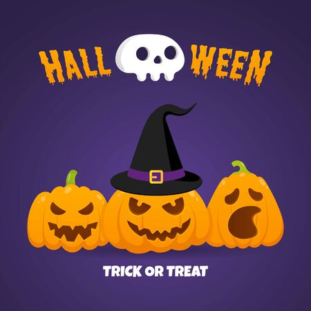 Happy halloween pumpkins with scary faces expression grimace, with witch hat and human scull flat style design vector illustration isolated on dark background and text.