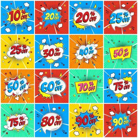 Pourcentages de lettrage comique sur la VENTE dans l'ensemble de conception plate de style comique de bulle de discours. Illustration de pop art vintage rétro isolée sur fond de rayons. Autocollant d'exclamation ou magasin ou magasin d'étiquettes.