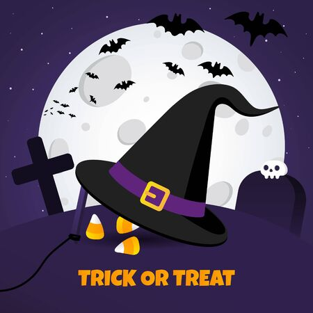 Happy halloween poster with big witch hat and candy on the grave ground flat style design vector illustration isolated on dark background. Text happy halloween with scull.