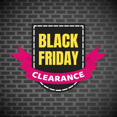 Black friday sale inspiration poster, banner or flyer vector illustration isolated on brick background. Big holiday mega sale with ribbon, label tag and text