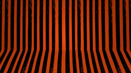 Halloween stripe room brush stroke black stripes isolated on orange wall background. Simple shadow space for holidays.